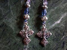 Blue Dangle Cross Earrings by Marakeshmanor on Etsy, $17.99    https://www.etsy.com/your/listings/104593722