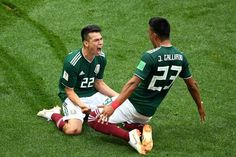 7eb716210e9f Hirving Lozano of Mexico celebrates with Jesus Gallardo by sliding on their  knees after scoring his team s first goal during the 2018 FIFA World Cup  Russia ...