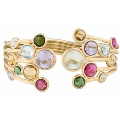 Marco Bicego Jaipur Multi-Stone Cuff found on Polyvore featuring jewelry, bracelets, multi color bracelet, hinged cuff bracelet, colorful bangles, bracelet bangle and 18 karat gold bracelet
