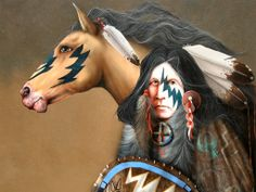 Native American with his Pony, art, Challenger, equine, horse, Indian, J D Challenger, Native American, painting, pony, war paint
