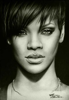 Rihanna in pencil drawing. Cool Pencil Drawings, Amazing Drawings, Realistic Drawings, Pencil Art, Celebrity Drawings, Celebrity Portraits, Portrait Sketches, Pencil Portrait, Rihanna Drawing