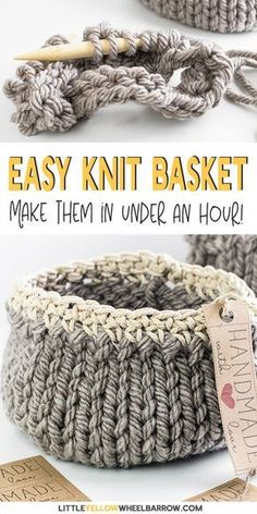 Free DIY Basket Pattern you can Knit up in a Flash Cute DIY baskets you can knit up quick and easy. This easy craft project requires a single skein of yarn and requires only basic knitting knowledge. A perfect knitting project for beginners. Knit up a Easy Craft Projects, Yarn Projects, Sewing Projects, Diy Crafts, Quick Knitting Projects, Beginners Knitting Patterns Free, Diy Knitting Ideas, Diy Projects Quick And Easy, Crafts With Yarn