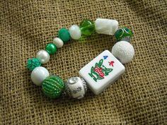 Green and White Mahjong Bracelet - Jesse James Beads Jewelry - Mahjong Jewelry by MahjongJewelry on Etsy