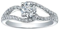 18K White Gold 0.72ct Center Stone 1.02ct Total Diamond Weight