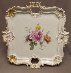 porc.MEISSEN__Beautiful antique Meissen porcelain hand painted Floral Platter!