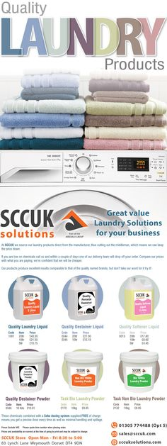 At SCCUK we source our laundry products direct from the manufacturer, thus cutting out the middleman, which means we can keep the price down.  Our products produce excellent results comparable to that of the quality named brands, but don't take our word for it try it!  Buy more for less at SCCUK