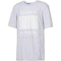 adidas Originals Boys' Mesh Box Logo T-Shirt, Size: Medium, Gray