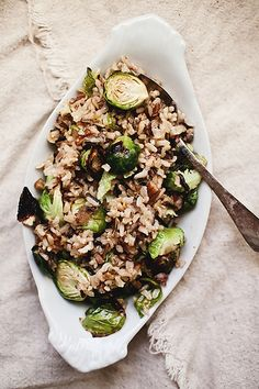 Wild rice pilaf with Brussels sprouts and pecans (use a vegan butter or oil.)