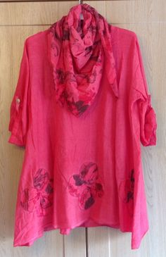 Plus size New Lagenlook Quirky Floral Print Scarf Tunic Loose Cotton Shirt | eBay