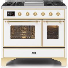 Ilve 40 Inch Majestic II Series Induction Range with 6 Elements, cu. Total Oven Capacity, TFT Oven Control Display, Brass Trim, in Antique White Chimney Range Hood, Cool Doors, Steam Cleaning, Digital Clocks, Home Repairs, Save Energy, Cool Stuff
