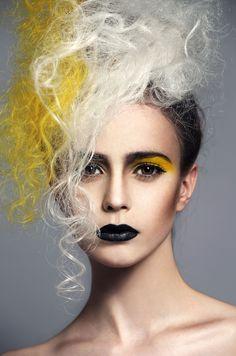 black lips yellow eyeshadow