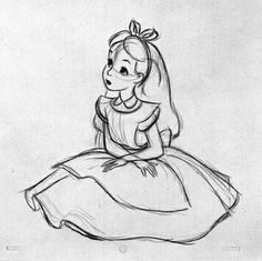 Draw alice in wonderland image in wonderland line drawings in how to draw alice in wonderland . draw alice in wonderland Disney Pixar, Arte Disney, Disney Memes, Disney Magic, Disney Art, Disney Ideas, Disney Sketches, Disney Drawings, Cool Drawings