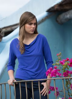 Bodypeace Elegant and comfortable bamboo clothing. Cowl/Boat Neck Top in azure blue, also comes in ocean teal, cream, black, charcoal.  www.bodypeacebamboo.com