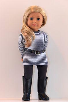 18 inch, American Girl Doll Clothing. Active wear Ensemble. Tunic top, leggings, belt