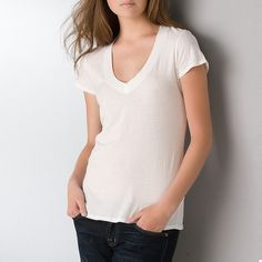 White Tee Shirts - James Perse Short Sleeve V Neck Tee