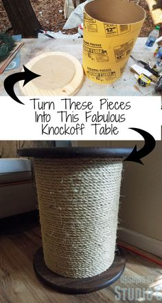 Ballard Inspired Rope Spool Side Table a great DIY project with the step by step tutorial so you can make it yourself