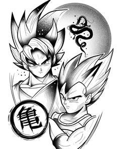 Manga Tattoo, Z Tattoo, Dragon Z, Dragon Ball Gt, Cartoon Tattoos, Anime Tattoos, Arte Copic, Goku E Vegeta, Desenho Tattoo