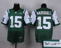 """$23.88 at """"MaryJersey""""(maryjerseyelway@gmail.com) Nike Jets 15 Brandon Marshall Green Team Color Men Stitched NFL Elite Autographed Jersey"""