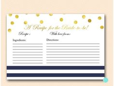 Navy Stripes and Gold Bridal Shower Recipe Cards Bridal #babyshowerideas4u #birthdayparty  #babyshowerdecorations  #bridalshower  #bridalshowerideas #babyshowergames #bridalshowergame  #bridalshowerfavors  #bridalshowercakes  #babyshowerfavors  #babyshowercakes