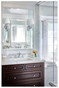 York Mills Bathroom Bath Transitional Traditional by Laura Stein Interiors Interior Design Portfolios, Interior Design Companies, Bathroom Bath, Master Bathroom, Lake Bathroom, Bathrooms, Bathroom Sconces, Bathroom Vanities, Transitional Bathroom