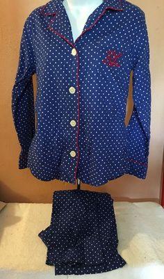 f6b694b33a Ralph Lauren Monogram Blue White Red Polka Dot Flannel Pajamas Small   RalphLauren  PajamaSets Flannel