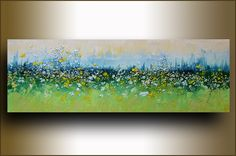 "Scent of Meadow Flowers 36""x12"" ORIGINAL art abstract Painting on stretched canvas palette knife texture oil painting landscape painting by studiomosaic on Etsy https://www.etsy.com/listing/212850027/scent-of-meadow-flowers-36x12-original"