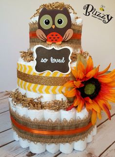 Fall Owl Diaper Cake Owl Theme Centerpiece by BuzzyDiaperCakes