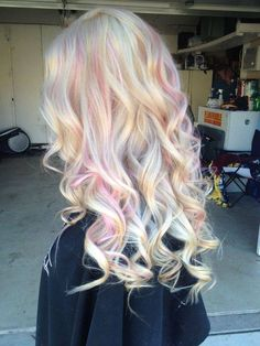 Blonde hair with highlights, Opal hair, Pink blonde hair, Hair color, Pastel hai. Blonde hair with Pink Blonde Hair, Blonde With Pink, Blonde Hair With Highlights, Ombre Hair, Pastel Highlights, Lilac Hair, Green Hair, Blue Hair, Blonde Hair With Color