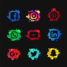 Social media set with ink splashed PNG and Vector Green Screen Video Backgrounds, Youtube Banner Backgrounds, Iphone Background Images, Light Background Images, Geometric Background, Social Media Art, Social Media Buttons, Social Media Banner, Web Banner Design