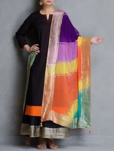 Multicolor Leheriya Gota Patti Chiffon Dupatta with Tassels Embroidery Suits Punjabi, Kurti Embroidery Design, Designer Punjabi Suits, Indian Designer Wear, Pakistani Formal Dresses, Indian Dresses, Kurta Designs, Saree Blouse Designs, Smart Casual