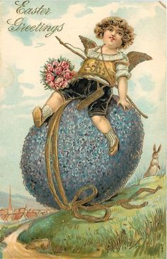 Easter~Angel Boy Rides Giant Flower Egg Down Hill~Rabbit Watches~Gold Leaf Embos | eBay