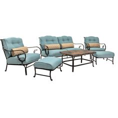 Hanover Oceana Metal Frame Patio Conversation Set with Cushions at Lowe's. Ease into blissful comfort with the Oceana Patio Set by Hanover Outdoor. This collection includes a deep-seating loveseat, two matching armchairs, Patio Furniture Sets, Living Room Furniture, Rustic Furniture, Garden Furniture, Furniture Projects, Furniture Decor, Blue Cushions, Patio Seating, Sofa Set