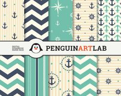 "Digital Paper, Nautical Scrapbook Paper Pack (8.5x11""-300 dpi) - Instant Download - 10 Digital papers - DKP014"