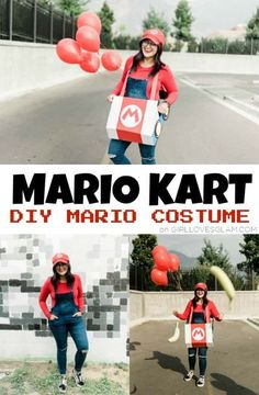 DIY Mario Costume Mario Costume Diy, Mario Kart Costumes, Mario Halloween Costumes, Handmade Halloween Costumes, Cute Halloween, Cool Costumes, Halloween Projects, Halloween Ideas, Costume Ideas
