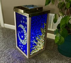 Items similar to Stained glass lantern with sun and moon design on Etsy Modern Stained Glass, Faux Stained Glass, Fused Glass Art, Glass Wall Art, Mosaic Art, Mosaic Glass, Ikea Lamp, Nightlights, Tealight Candle Holders
