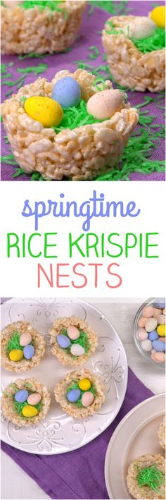 """An Easter craft project you can eat: celebrate spring with these cute and easy Rice Krispie bird's nests filled with green coconut """"grass"""" and chocolate eggs."""