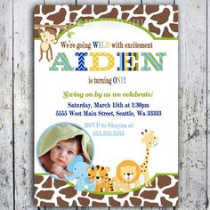 jungle first birthday invitations