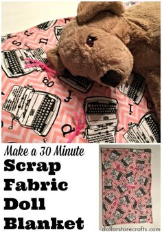 Dollar Store Crafts » Blog Archive » Make a 30 Minute Doll Blanket from Scraps