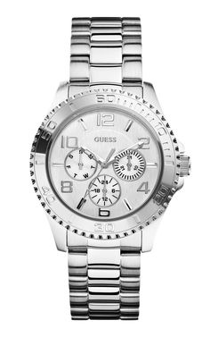 GUESS Women's U0231L1 Multi-Function Silver-Tone Sport Watch