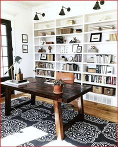 Home Office Space, Home Office Design, Home Office Decor, Home Decor, Office Rug, Home Office Lighting, At Home Office Ideas, Dining Room Office, Cozy Office