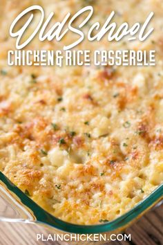 Old School Chicken and Rice Casserole - Healthy Chicken Recipes Meat Recipes, Crockpot Recipes, Cooking Recipes, Chicken Recipes For Dinner, Mexican Rice Recipes, Cooked Chicken Recipes, Easy Steak Recipes, Rice Recipes For Dinner, Recipies
