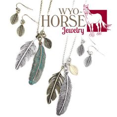 Wyo-Horse Jewelry - Feather Charm Cluster Necklace Set - This is a long necklace, great for layering - Patina or two-tone finish  - Tribal Look - Boho Style