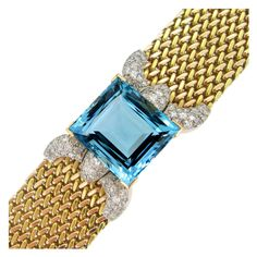 Aquamarine And Diamond Bracelet.   From a unique collection of vintage link bracelets at http://www.1stdibs.com/jewelry/bracelets/link-bracelets/
