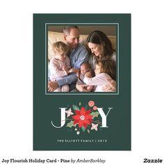 Joy Flourish Holiday Card - Pine