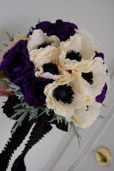 black white and purple boquets | purple and ivory anemone wedding bouquet