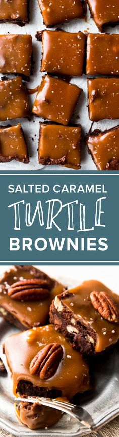Salted caramel homemade brownies with pecans make these the most unbelievable turtle brownies! Rich and fudge recipe http://sallysbakingaddiction.com/2016/12/22/salted-caramel-turtle-brownies/