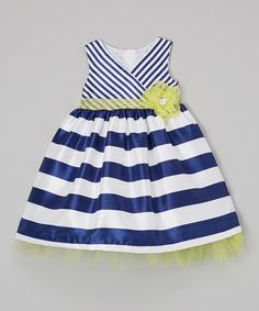 Another great find on #zulily! Nannette Navy & Yellow Stripe Surplice Dress - Toddler by Nannette #zulilyfinds