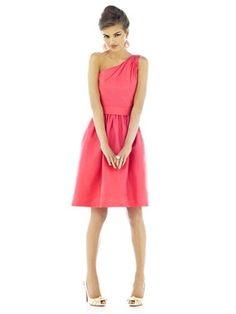 One shouldered coral bridesmaid dress