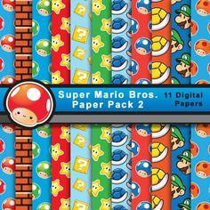 Papel Super Mario (Pack 2) de ElbauldeSherezade en Etsy