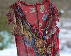 RESERVED-- Red dress with blue flowers--  whimsy bohemian dress, silk, embroidered, reworked